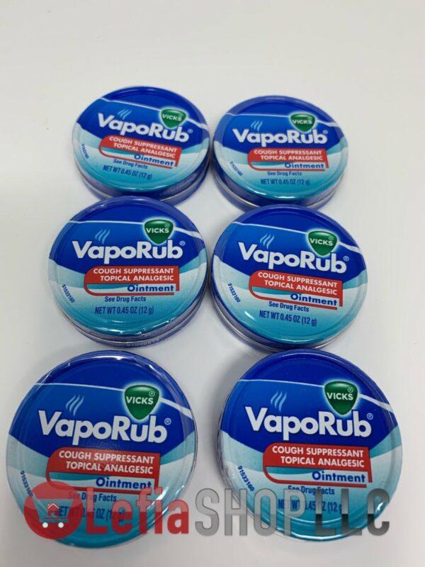 Vicks VapoRub 0.45 oz.(12 grams) ointment, cough suppressant analgesic, 6 cans